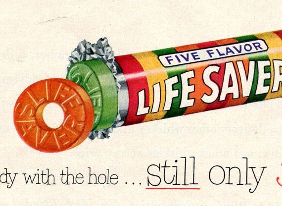 Vintage Look Reproduction 1945 Life Savers Candy Metal Sign