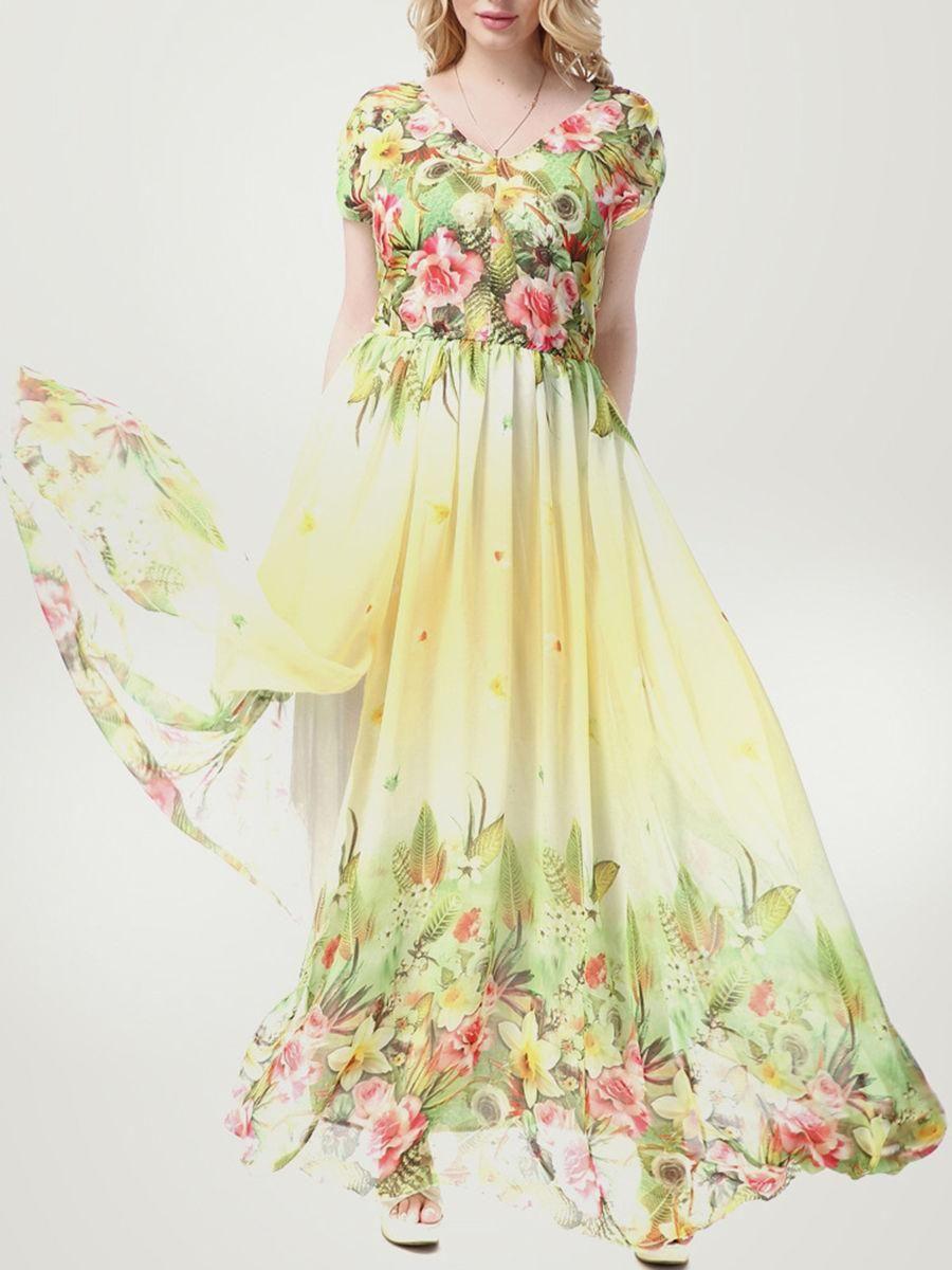 Fashionmia fashionmia tropical floral elastic waist vneck chiffon