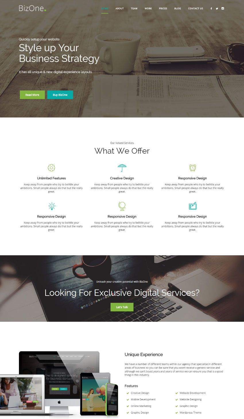 15 Best One Page Website Templates With Responsive Designs Ecommerce Website Design Web Design Website Design Company