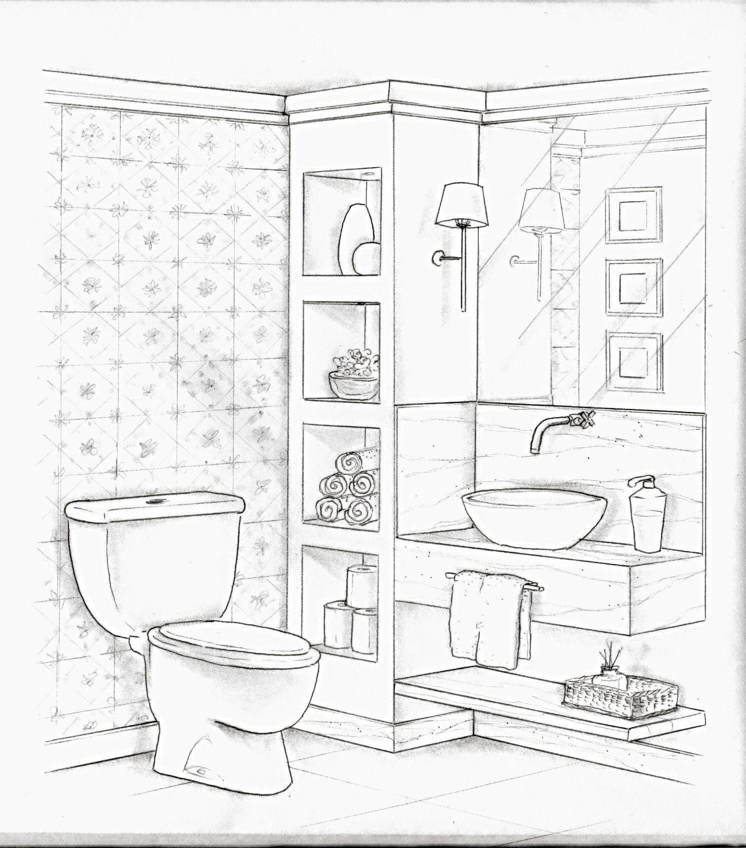 Interior Design Sketches Bathroom