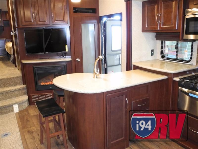 Heartland Cyclone 3110 Toy Hauler Kitchen and Fireplace ...