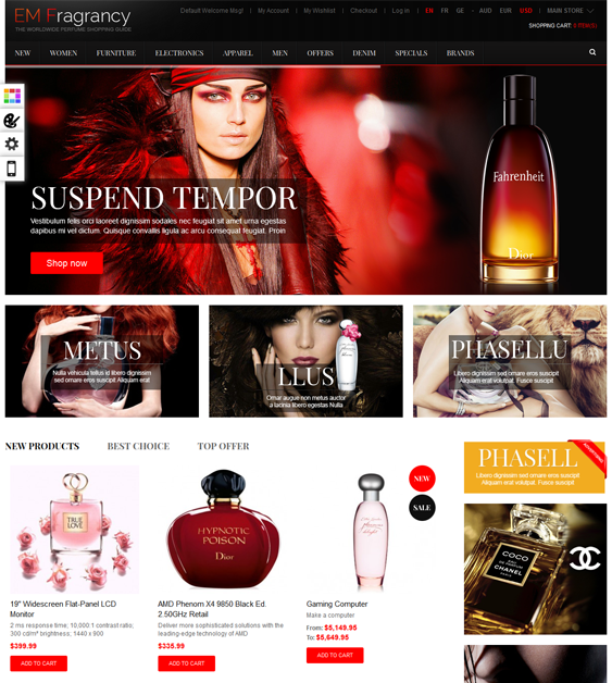 This minimal Magento theme has a responsive layout, a drag