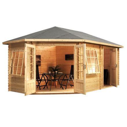 5m x 3m waltons left sided greenacre lodge plus corner log cabin - Garden Sheds 5m X 3m
