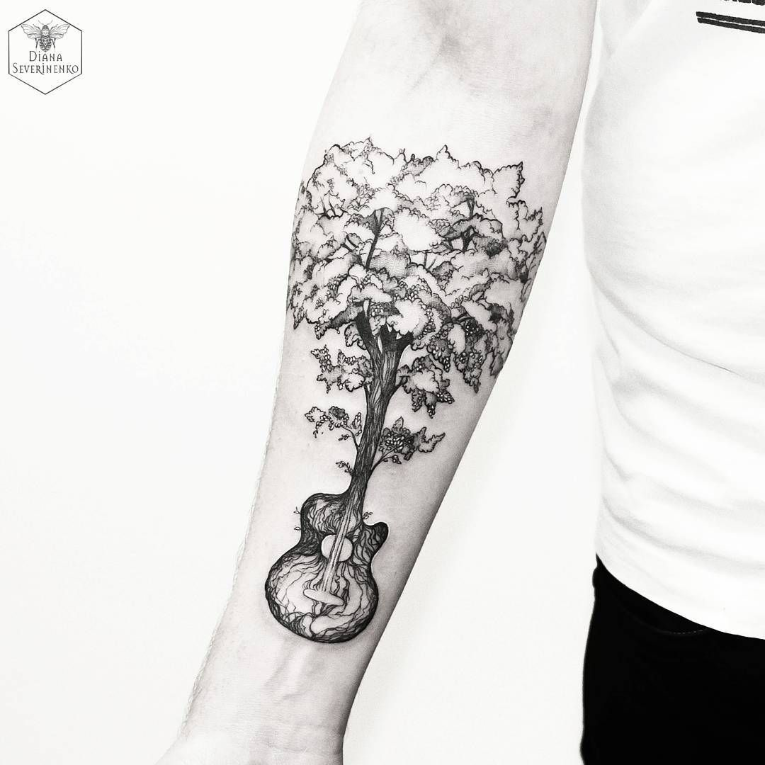 Guitar tree blackwork tattoo. Diana Severinenkos nature tattoos capture the beauty and essence of flowers animals and nature scenes in a unique blend of tattooing styles. Enjoy! #style #shopping #styles #outfit #pretty #girl #girls #beauty #beautiful #me #cute #stylish #photooftheday #swag #dress #shoes #diy #design #fashion #Tattoo