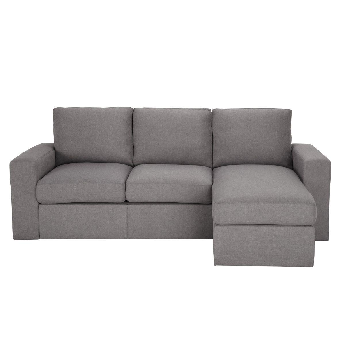 Canapé d'angle 3 places fixe gris JULES maison du monde | déco