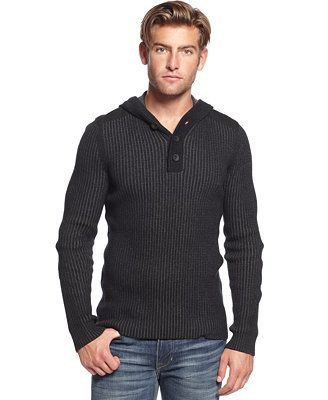 American Rag Solid Hooded Henley Sweater
