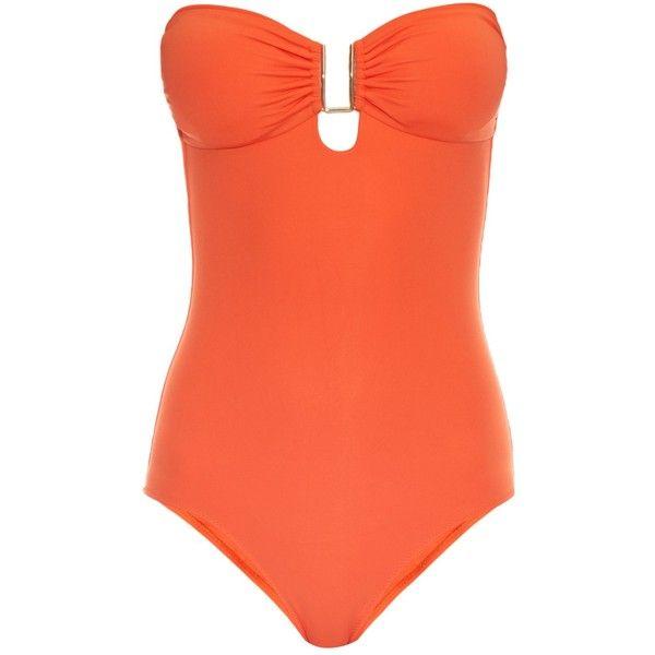 Melissa Odabash Argentina bandeau swimsuit ($228) ❤ liked on Polyvore  featuring swimwear, one