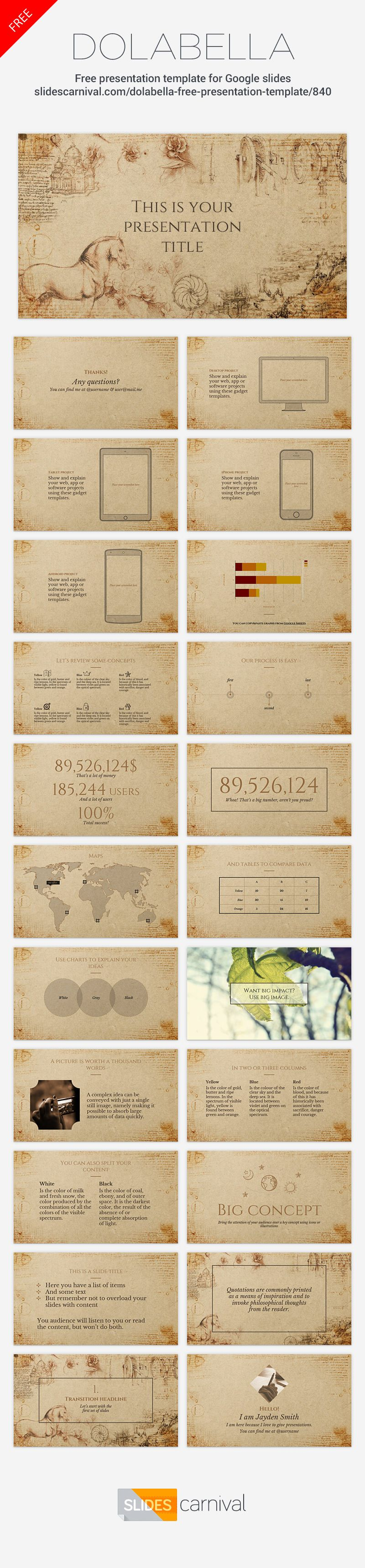 This free presentation template uses a textured paper background this free presentation template uses a textured paper background leonardo da vincis drawings and classic typography to convey a historical feeling toneelgroepblik Gallery