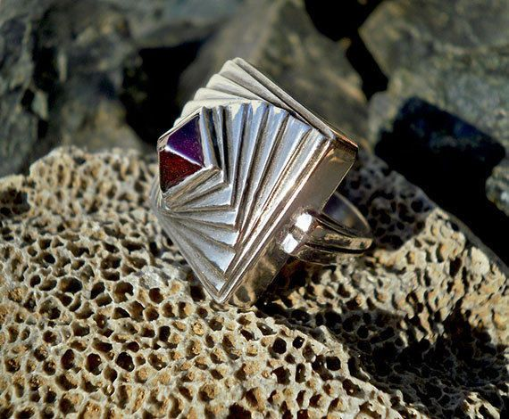 Pyramid sterling silver ring with Garnet by CosmolithosCreations