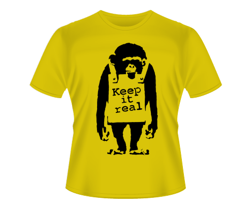 Banksy - Keep it Real Monkey Camiseta T-Shirt Tee