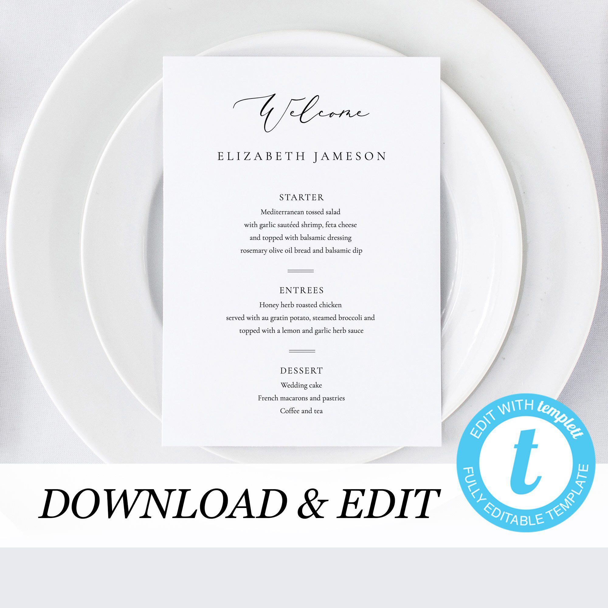 Wedding Menu Place Cards Template Printable Wedding Place Card Escort Card Menu Template Simple Modern Wedding Instant download Templett 11 #weddingmenutemplate This Personalized Wedding Menu template is fully editable and perfect for the DIY bride. Simple and elegant and will definitely make a statement. Get access to your template within minutes of purchase and create your perfect printable today, no more waiting for designers! This template is fully editable directly in your browser using the #weddingmenutemplate