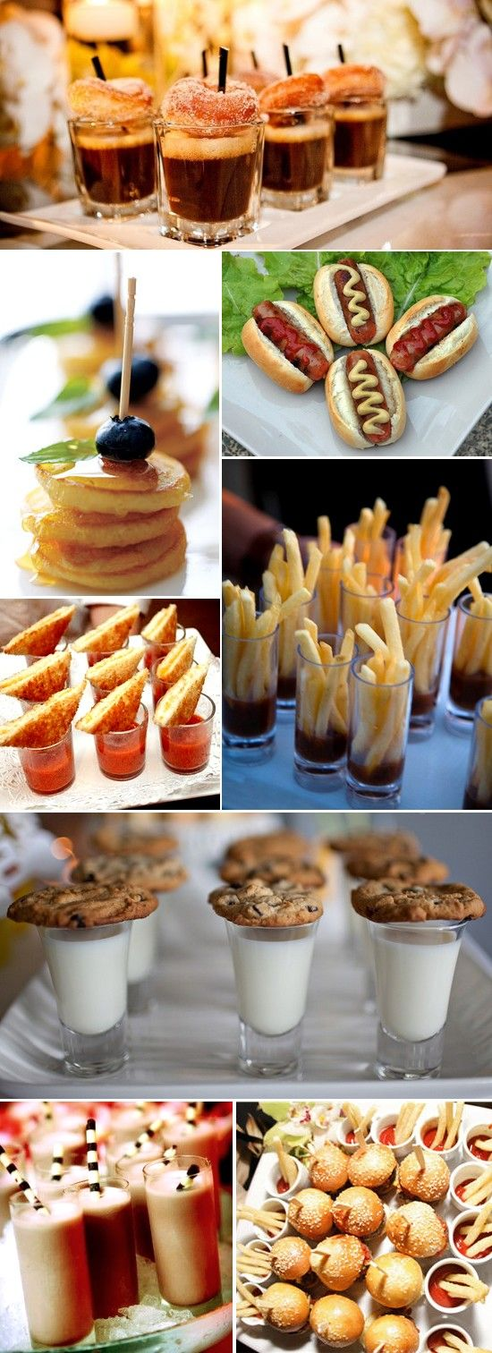 Fun finger foods for parties: Mini hot dogs. Mini pancakes. coffee and donut shooters. Tomato soup shots with grilled cheese. Fries + ketchup shooters. Cookies and milk. Milkshakes. Sliders + fries.