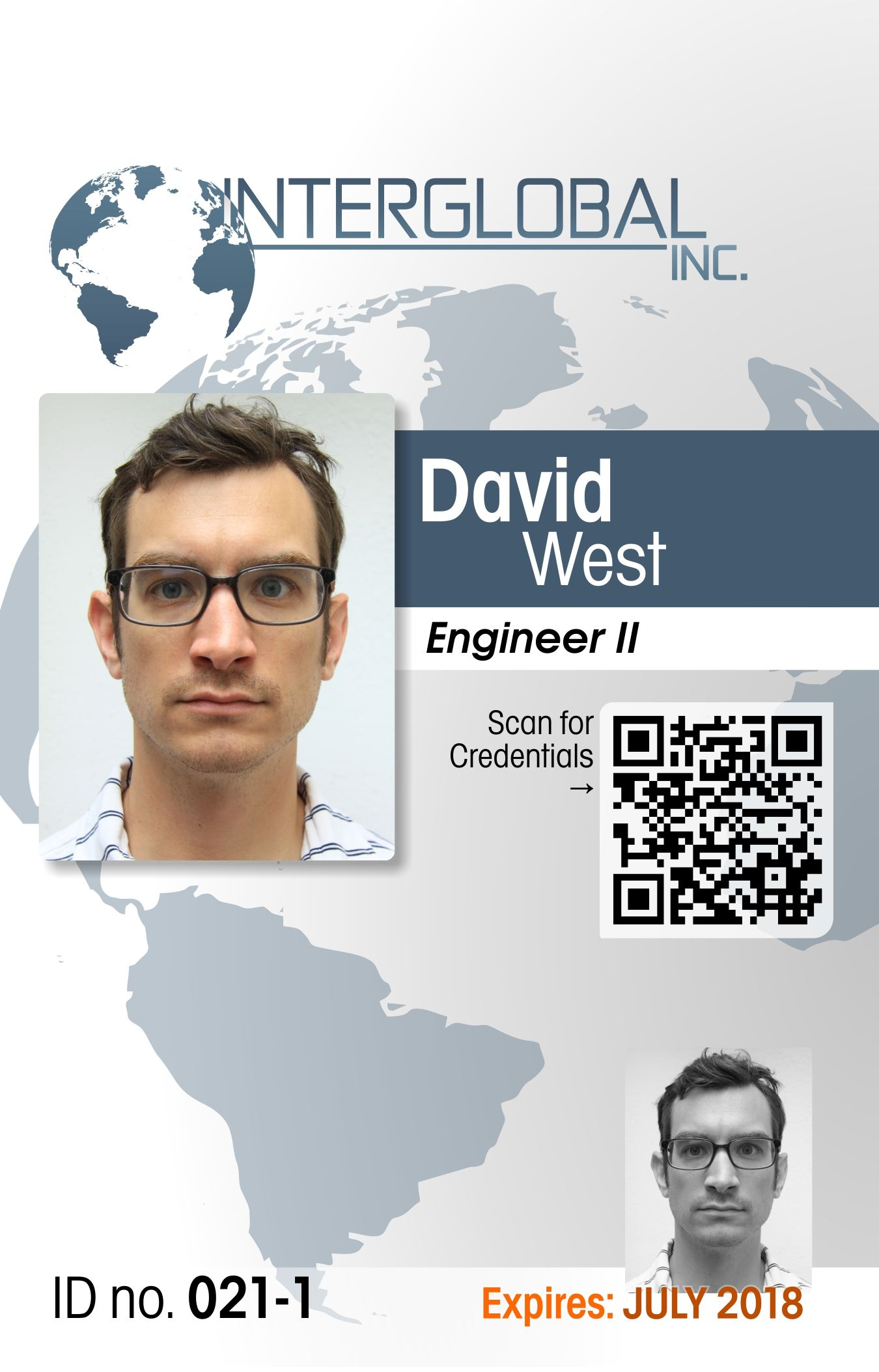 Interglobal Portrait Id Card With Qr Code Credential Verification Id Card Template Card Template Visiting Card Templates