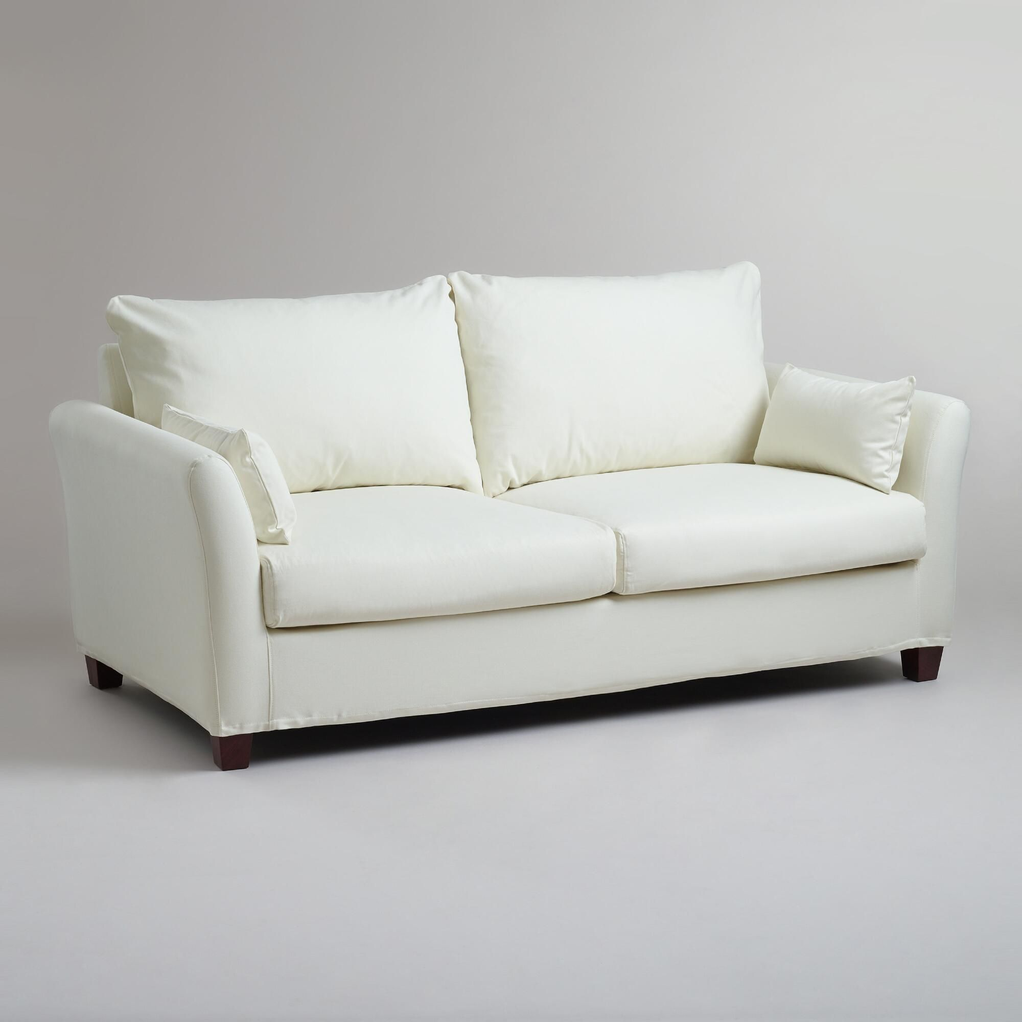 Outstanding Ivory Luxe Sofa Slipcover World Market About 450 With Gmtry Best Dining Table And Chair Ideas Images Gmtryco