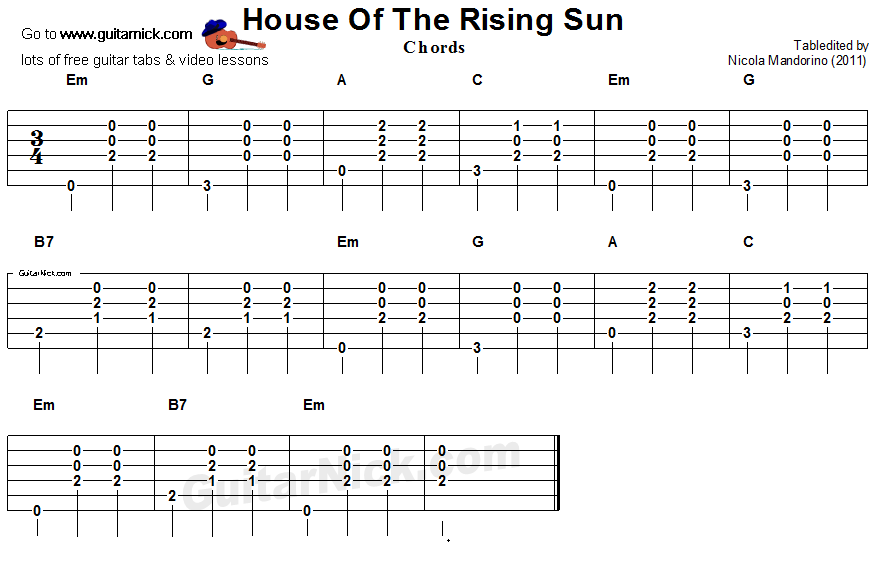 House Of The Rising Sun Guitar Chords Tab Great Ideas For Family
