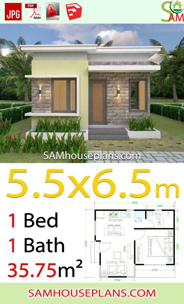 House Design Plans 5 5x6 5 With One Bedroom Flat Roof Houseplanidea In 2020 Flat Roof House One Bedroom Flat House Roof Design