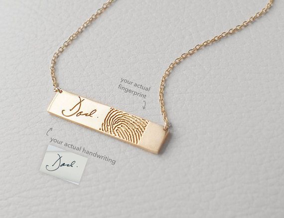 Rose Gold Handwriting Bar Necklace Actual Handwriting Bar Necklace Fingerprint Necklace Fingerprint Bar Necklace Fingerprint Heart Necklace