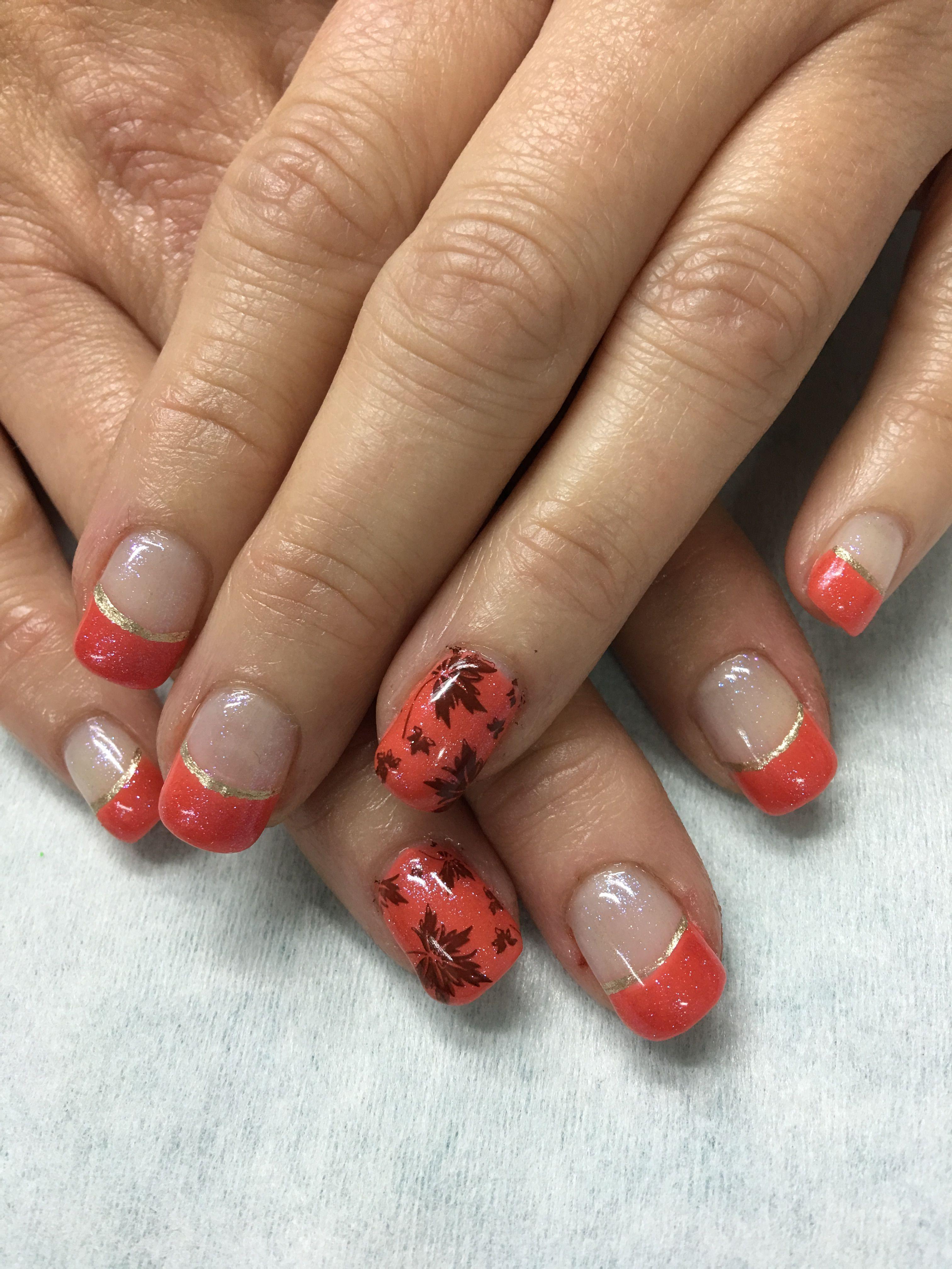 Fall Nails Shimmer Orange Stamped Leaves French Gel Nails Gel