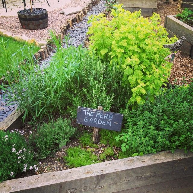 Herbs In A Wooden Sleeper Raised Bed In A Cottage Garden