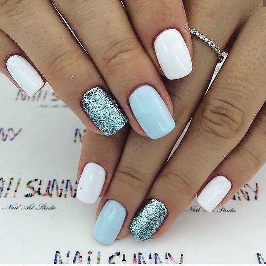 White Light Blue And Blue Glitter Nails Shellac Nail Designs Nails Cute Nails