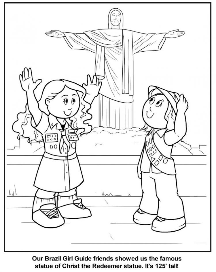 Brazilian Girl Guide Coloring Page Girl Guides World Thinking