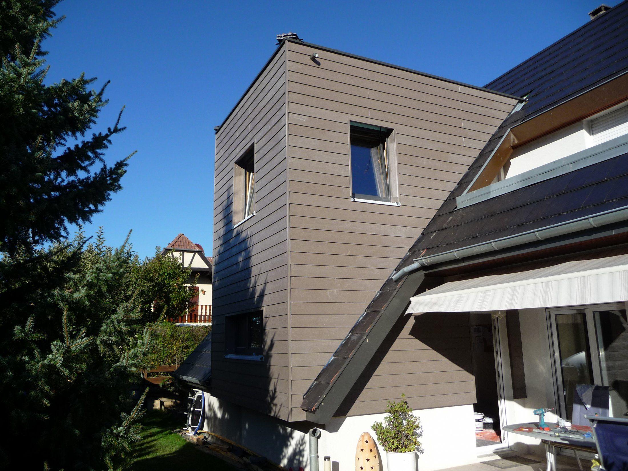 Extension sur 2 niveaux bardage clin eternit toit for Extension bois 2 niveaux