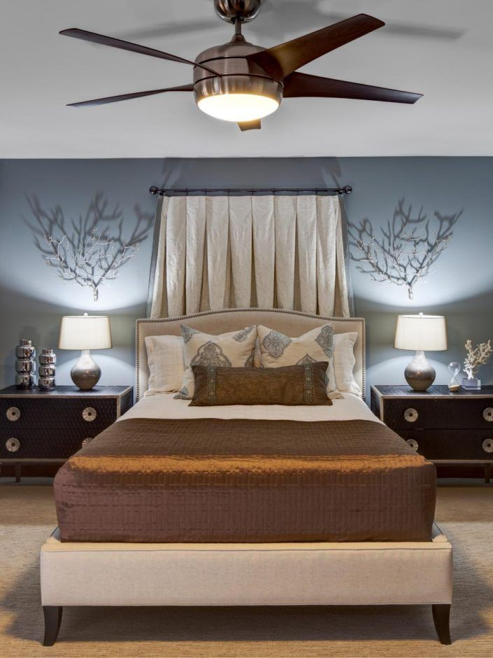 Design Ideas Blue Bedroom With Ceiling Fan Ceiling Fan With Light Brown Ceiling Fan Five Blades Ceiling Fan White Ceiling Gray Cool Stuff Design Moderno