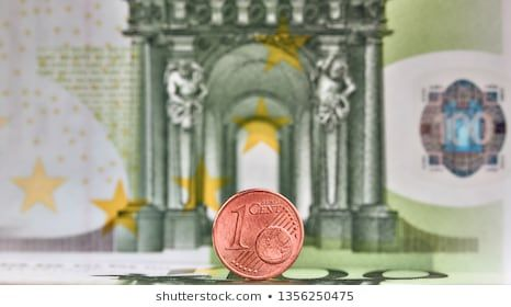 1 Euro cent against 100 Euro banknote coins and banknotes of the single European currency Money background