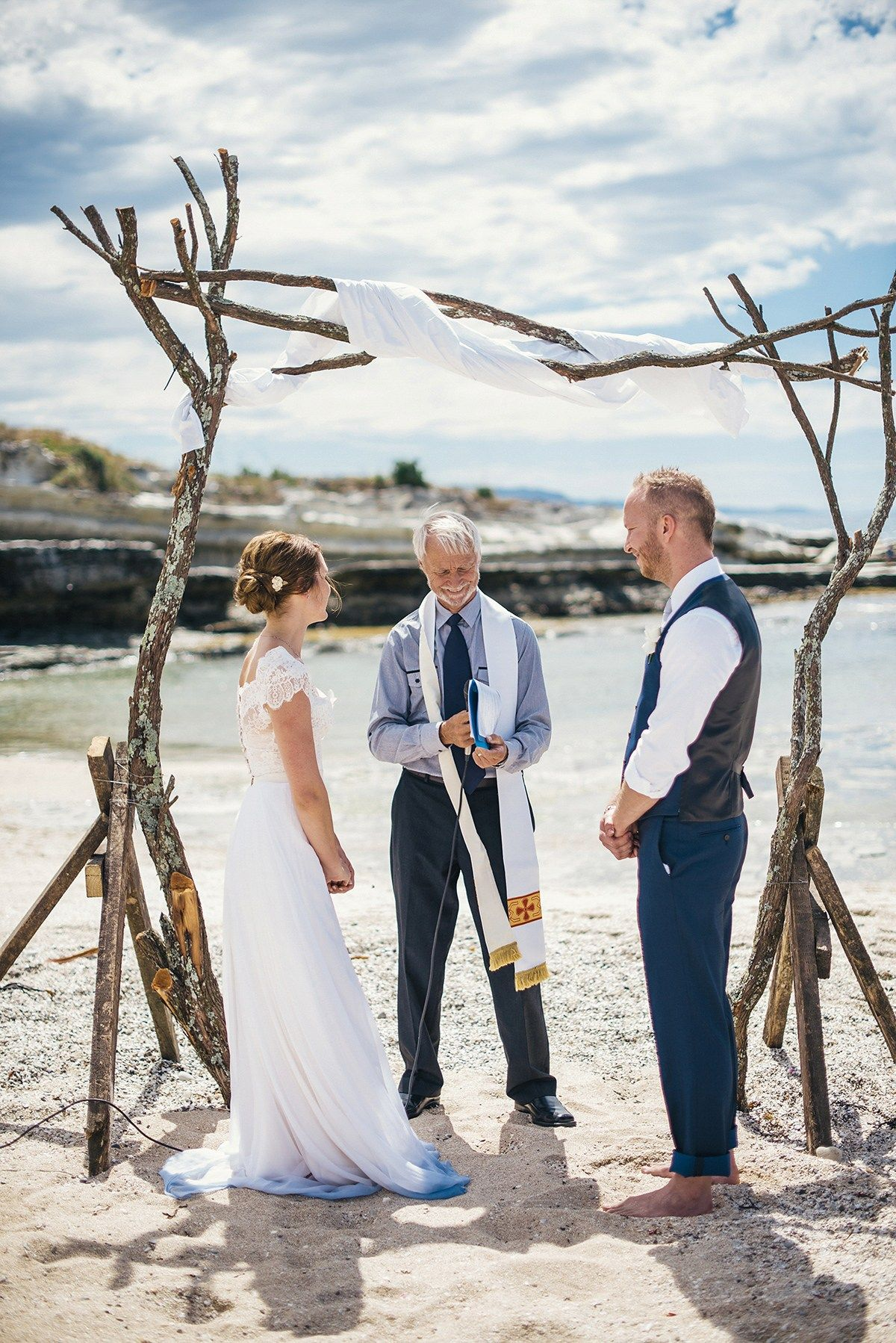 A beautiful blue ombre wedding dress for a barefoot beach wedding in
