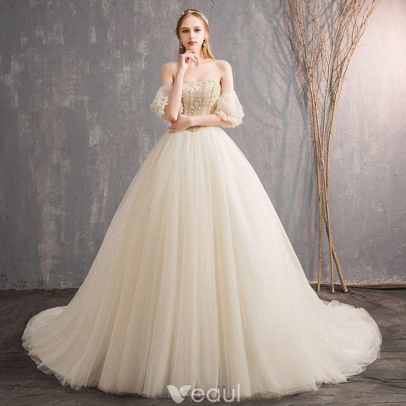 Luksusowe Szampan Suknie ślubne 2018 Suknia Balowa Kochanie Odpinany