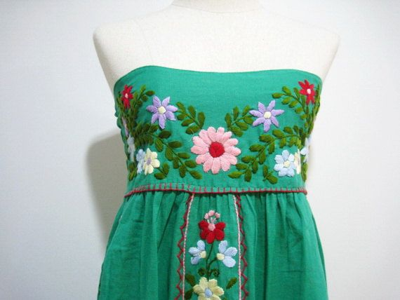 Mexican Hand Embroidered Cotton Strapless Sundress In by chokethai, $46.00 I LOVE/WANT THIS!