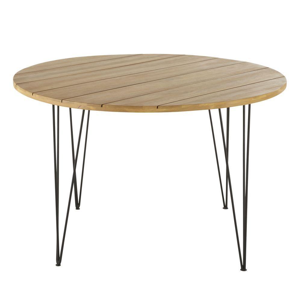 Runder Gartentisch Aus Massivem Akazienholz Und Schwarzem Metall