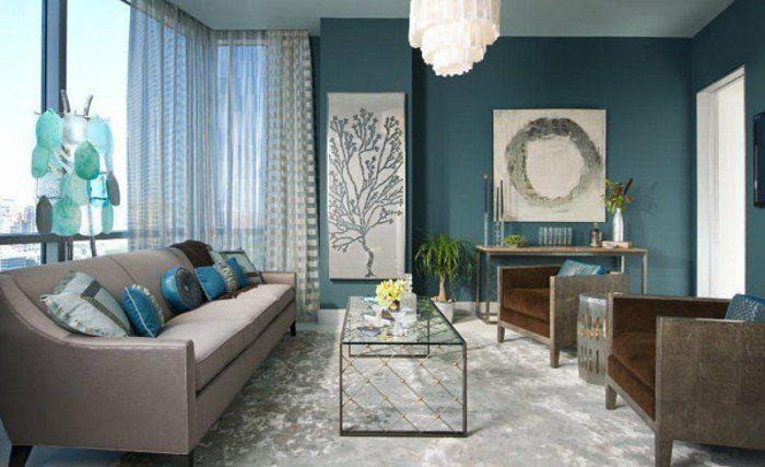 Déco Salon – couleur peinture salon bleu pétrole, canapé gris ...