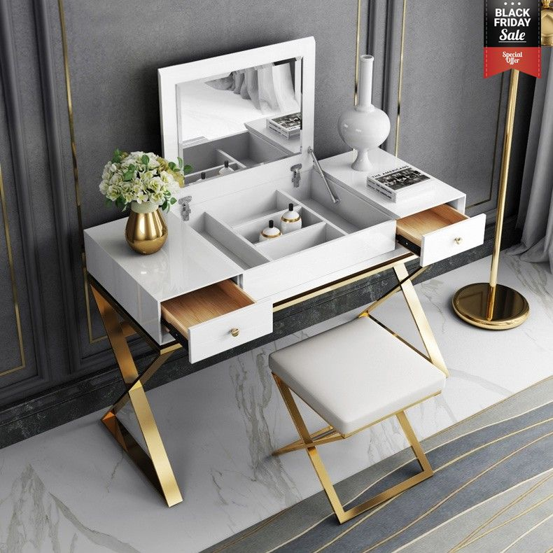 Modern 2 Drawer Wood Makeup Vanity Set With Mirror Stool X Base Stainless Steel In Gold Vanity Table Set Vanity Set With Mirror Bedroom Vanity