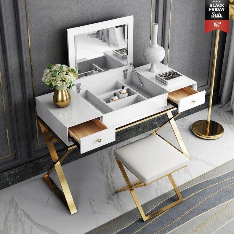 Modern 2 Drawer Wood Makeup Vanity Set With Mirror Stool X Base Stainless Steel In Gold Vanity Table Set Vanity Set With Mirror Makeup Table Vanity