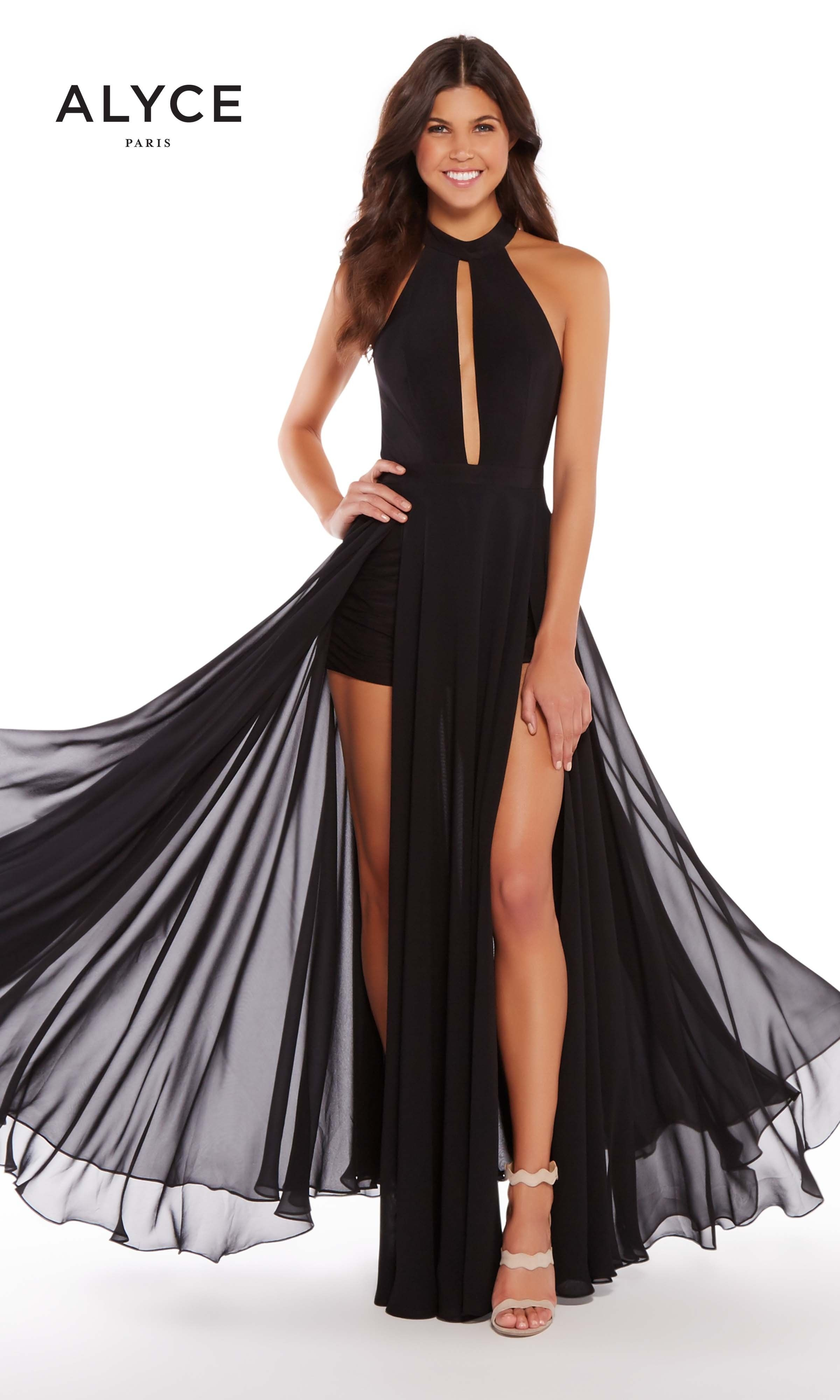 Alyce 59999 Black Chiffon Halter with Two Leg Slits and Shorts