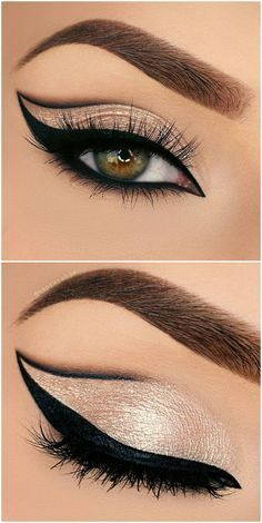 bold grapic cat eye outline / half cut crease in black + gold glitter…