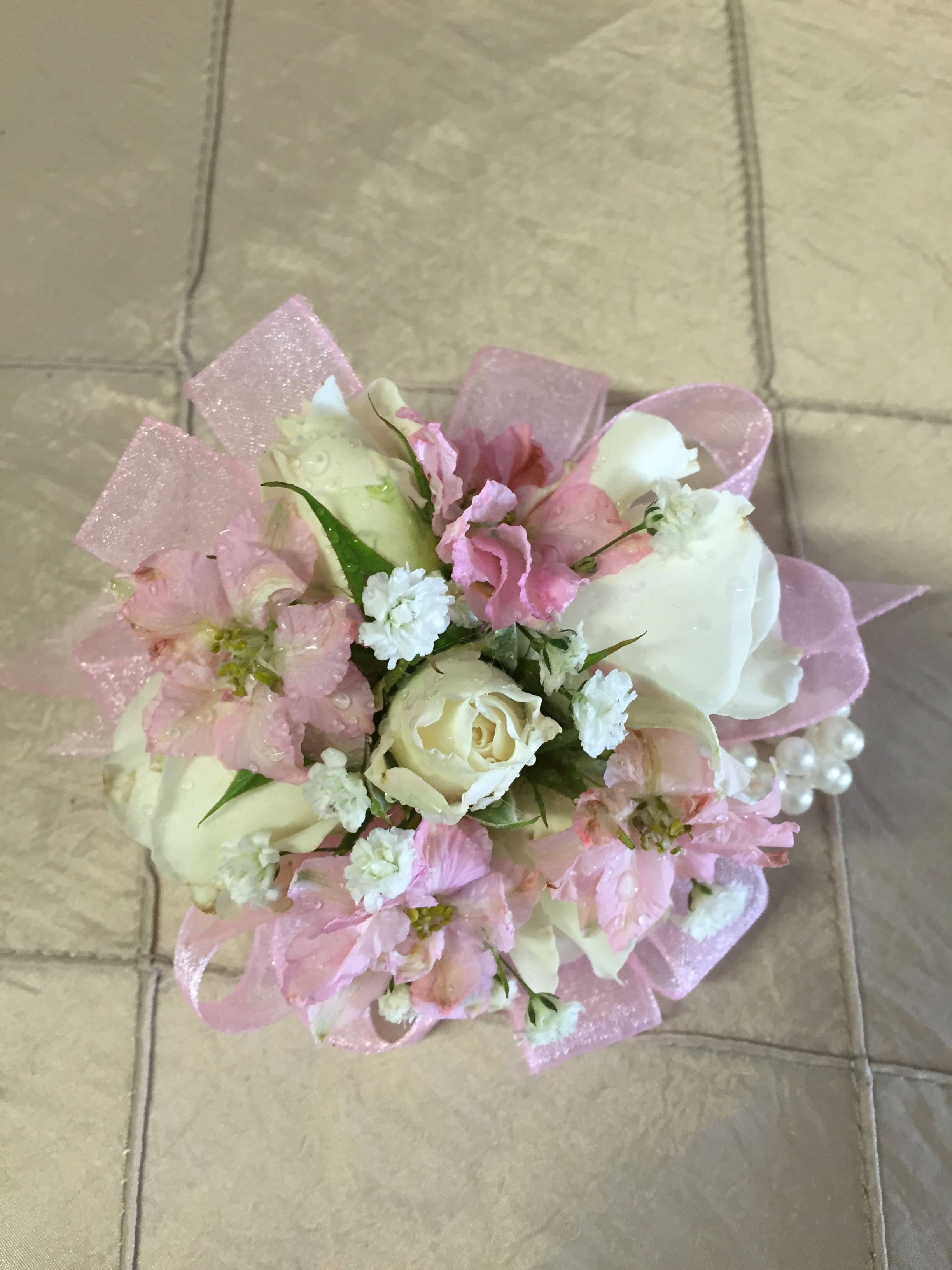 Pink And White Fresh Flowers Corsage With Pink Ribbon And Pearl