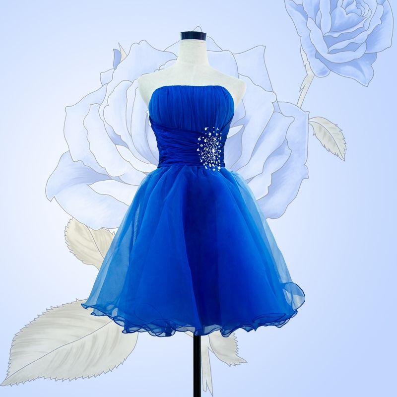 Vestido para formatura curto azul royal
