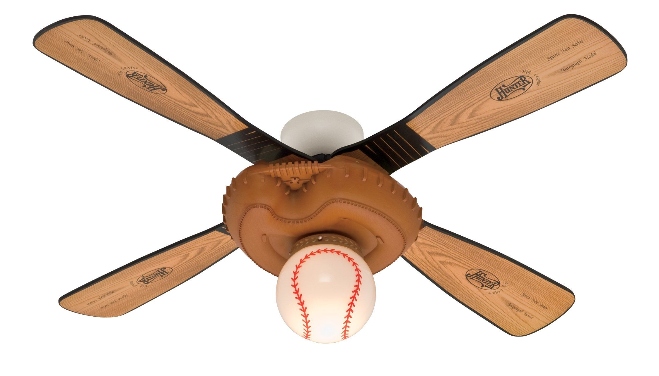 Baseball 44 Inch Single Light 4 Blade Ceiling Fan Leather Look