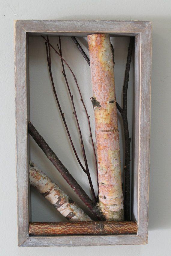 White Birch Framed Art, Twig Wall Art, Birch Wall Hanging, Rustic ...