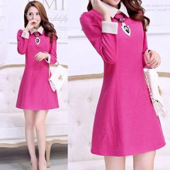2014 new autumn and winter high-end temperament long-sleeved dress bottoming space cotton sundress piece Korean version of - SGshop