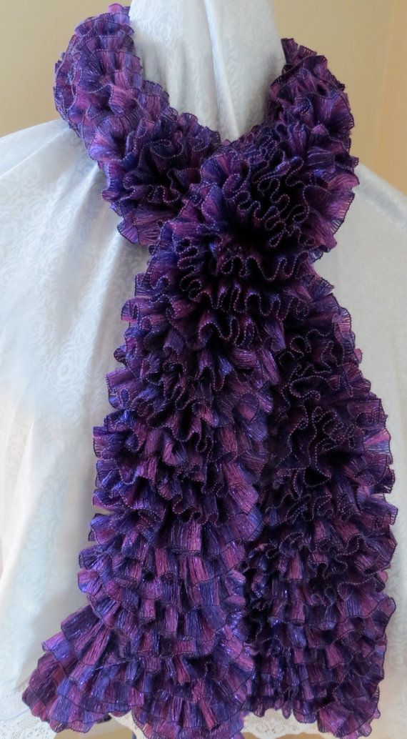 Crochet with Ruffle Yarn | Purple metallic Ruffle Yarn Scarf ...