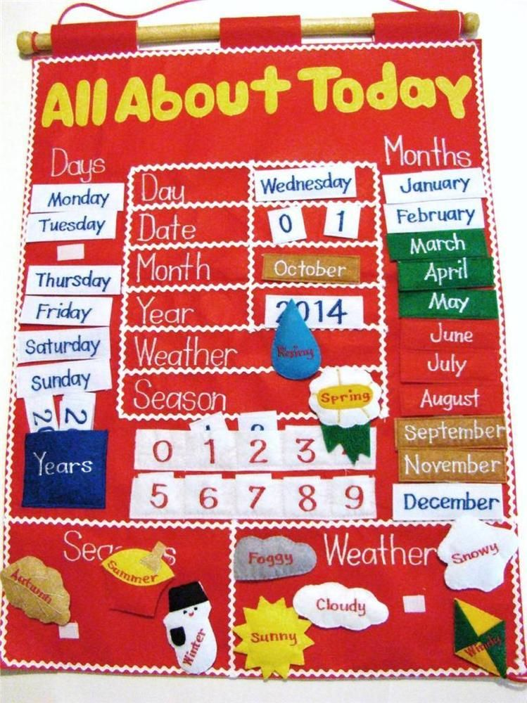 All About Today Childrens Felt Interactive Learning Calendar Wall