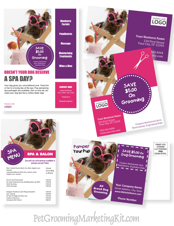 New Dog grooming business advertising and marketing templates in a ...