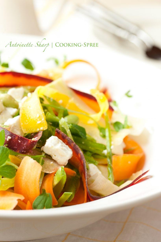 Rainbow carrot, pea and pea shoot salad. Delish.