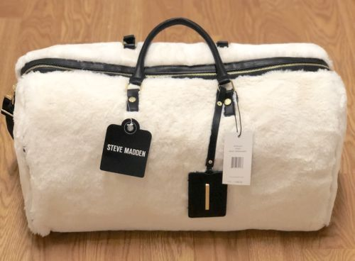 Steve Madden Fur Duffle Bag Soft Weekender Tote Furry Ivory Overnight Carryon