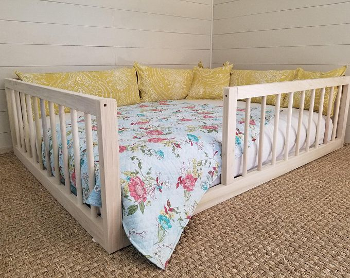 Montessori Floor Bed With Rails & slats Twin Size images