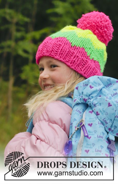 Knitted DROPS hat with pompom and zig zag pattern in Peak or Eskimo ...