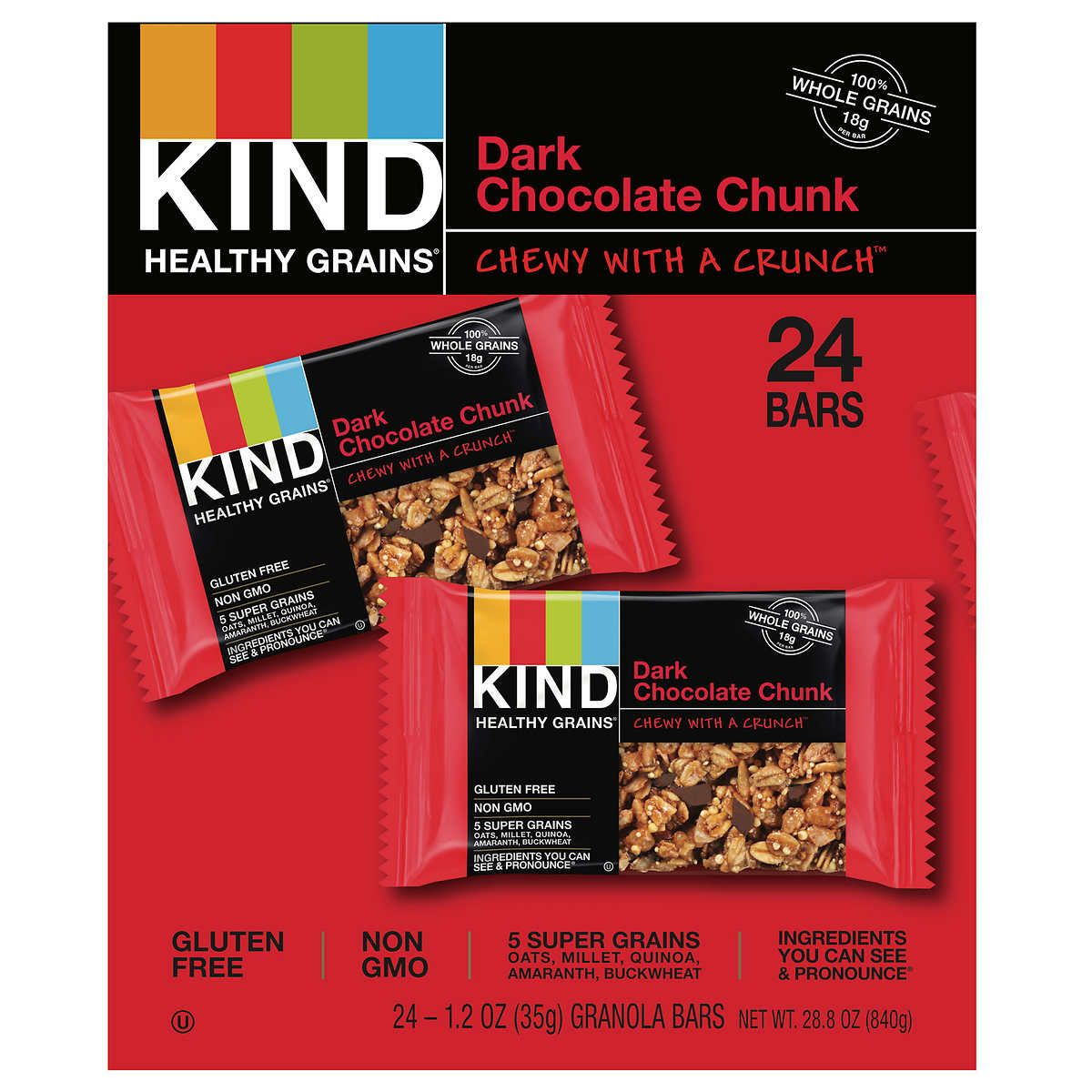 Kind Healthy Grains Dark Chocolate Chunk 12 Oz 24 Count